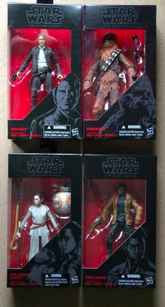 Star Wars Episode 7 The Black Series Rey, Han Solo, Chewbacca, & Finn New in Box