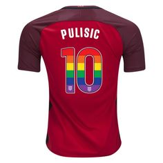 2017 2018 Christian Pulisic Red Men s Jersey USA Rainbow Numbers Michelle  Akers 82d1ed21e