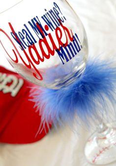 Yadier Molina St Louis Cardinals inspired wine glass baseball bottoms super fan wine glass