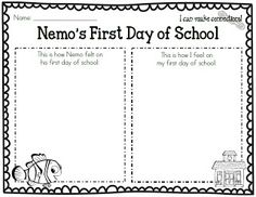 Nemo's First Day of School/My First Day of School--Making Connections. (Use video clip of Nemo starting school.) by Amanda @ First Grade Garden