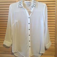 American Rag button down blouse Never worn - Very nice ivory chiffon American Rag Tops Blouses