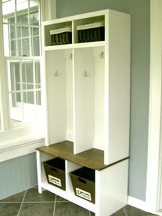 would be cute by the back door or in a mud room/laundry room where kids can drop all their stuff into their own little cubby.