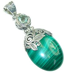 $89.50 Big! Bali Secret! Green Malachite & Green Amethyst Sterling Silver Pendant at www.SilverRushStyle.com #pendant #handmade #jewelry #silver #malachite