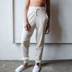 Baserange Off White Basic Ribbed Sweat Pants