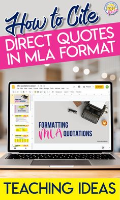 Teaching students how to cite direct quotations in MLA format....simplified! #ResearchWriting #MiddleSchoolELA #HighSchoolELA #MLACitations Expository Writing, Informational Writing, Teaching Writing, Student Teaching, Essay Writing, Teaching Ideas, Writing Resources, Writing Ideas, Citing Text Evidence