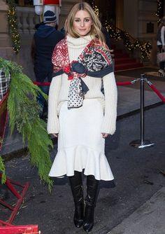 Olivia Palermo wearing Gerard Darel Maureene Sweater, Jimmy Choo Toni Leather Over-the-Knee Boots and Tibi Cloque Midi Skirt