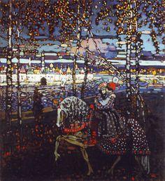 Vasilij Kandinskij,Coppia a cavallo, 1906-1907, olio su tela, Städische Galerie im Lenbachhaus, München.