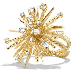 David Yurman 33mm 18K Gold Spray Ring with Diamonds ($6,500) ❤ liked on Polyvore featuring jewelry, rings, gold ring, diamond band ring, 18 karat gold ring, band rings and baguette diamond ring