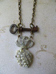 Vintage Key Repurposed Rhinestone Pearl Brooch by WinterPearls, $54.00
