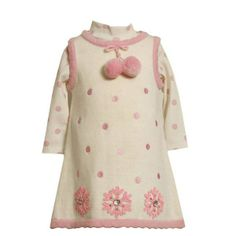 "Sarafan si bluzita Bonnie Jean Baby ""Fulg de Nea"", Jacheta impermeabila Biscotti&Kate Lilac Fairy - http://www.outlet-copii.com/outlet-copii/imbracaminte-copii/imbracaminte-fetite/sarafan-si-bluzita-bonnie-jean-baby-fulg-de-nea-jacheta-impermeabila-biscottikate-lilac-fairy/ - Sarafan tricotat cu pompoane si imprimeu buline, cu aplicatii fulgi in partea de jos. Bluzita din bumbac cu imprimeu buline. Culoare: crem/roz   Pret redus 169 lei Cumpara din magazinul KidsPlaza  Ja"