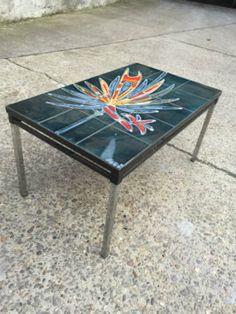 MODERN ART TILE TOP COFFEE TABLE by Adri BELGIUM 1960-80's