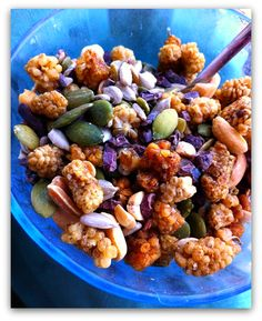 """This crunchy super foods """"cereal"""" is organic, gluten free, soy free, dairy free, vegan, high in protein, high in healthy plant based fats, contains no processed sugar and takes 30 seconds to make. Super simple recipe."""