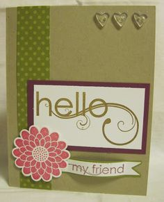 Hello, My Friend -- FM91 (from For the Love of Cards). Adorable colors & layout. My fave part? the little heart buttons!