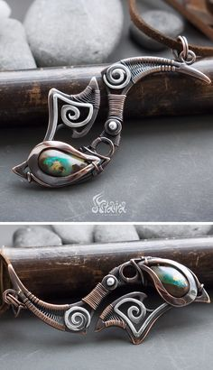 Boulder opal mixed metals copper and silver wire wrapped fish hook hei matau pendant necklace
