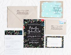 Oh So Beautiful Paper: Melissa + Graham's Whimsical Hand Painted Wedding Invitations