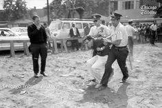 A Chicago Tribune archival photo of a young man being arrested in 1963 at a South Side protest is Democratic presidential hopeful  Bernie Sanders , his campaign has confirmed, bolstering the candidate's narrative about his civil rights activism. http://www.chicagotribune.com/news/local/breaking/ct-bernie-sanders-1963-chicago-arrest-20160219-story.html