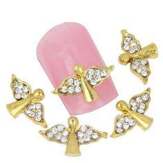 10Pcs/Lot Fashion Angel Wings Nail Charms Gold 3D Alloy Nail Art Decorations Rhinestones