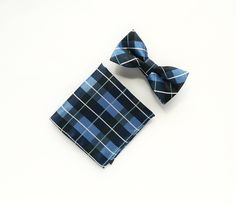 Blue plaid bow tie Pre-tied blue plaid pocket square gift for men wedding blue bow tie groomsmen uk by TheStyleHubTrends on Etsy