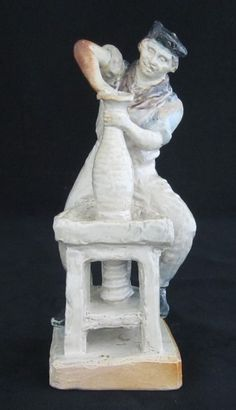 """Note the size Rare Martin Brothers Figure of """"The Thrower"""". Reported to be modelled on Walter Martin. Restoration to the arm and glaze flakes to the body  Dated: 1903  Dimensions: 7.00"""" high"""