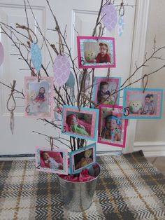 """First birthday tree (Mosaic of Moms): Cute alternative to a banner; display photos from each month on the """"tree."""" Perfect for an owl theme, woodland theme, and more!"""