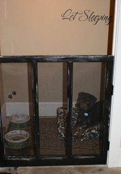 Closet turned dog room.  So simple yet fabulous. This would be so much better than her crate! If only I had an extra closet!