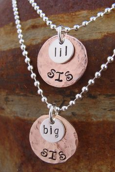 Big Sis Lil Sis Lucky penny necklaces by D2E Jewelry on Etsy. $40.00, via Etsy.