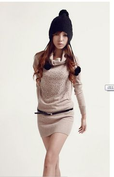 High Collar Long Sleeve Sweaters Beige - $26.89 on @ClozetteCo