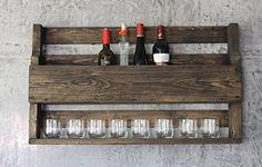 Ein echter Blickfang ! Flammbiertes Holz von einer Europalette Weinregal Whiskey Regal Wein Glas Whisky Gläserhalter Flaschenregal 90 cm Holz