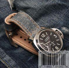 PREMIUM HAND STITCH 'DENIM' LEATHER WATCH STRAP FOR 24MM PANERAI WATCHES. | eBay