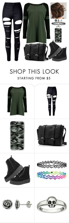 """Army Girl"" by lucy-wolf ❤ liked on Polyvore featuring Boohoo, WithChic, Casetify, Accessorize, Nina B and King Baby Studio"