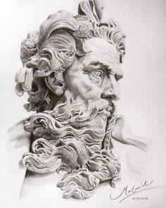 Poseidon / Neptune drawing by Maluvid Www.instagram.com/maluvid