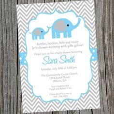 Blue Elephant Baby Shower Invitation Printable Baby Boy Chevron Elephant Shower Invitation.