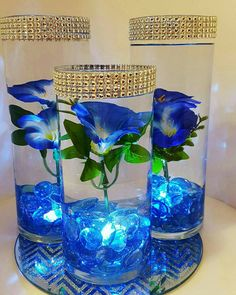 The perfect blue wedding centerpiece or blue decor for any special event like your baby shower, baptism, bridal shower, birthday, engagement or graduation party. Also looks great in the house to enhance your home decor or get in the season for EASTER :) N Floating Flower Centerpieces, Blue Flower Arrangements, Blue Wedding Centerpieces, Floating Flowers, Floating Candles, Baby Shower Centerpieces, Royal Blue Wedding Decorations, Lighted Centerpieces, Water Beads Centerpiece