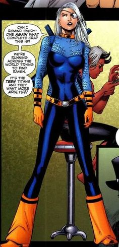 Ravager, aka. Rose Wilson. I so badly want to cosplay her. I love her and her hair.