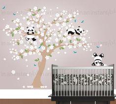 Panda Wall Decal, Playful Pandas in Cherry Blossom Tree | Custom Nursery and Children's Room Interior Design | Easy Application 094