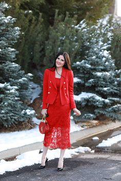 Christmas outfits Valentine's Day outfit ideas all red outfits lace dress blazer