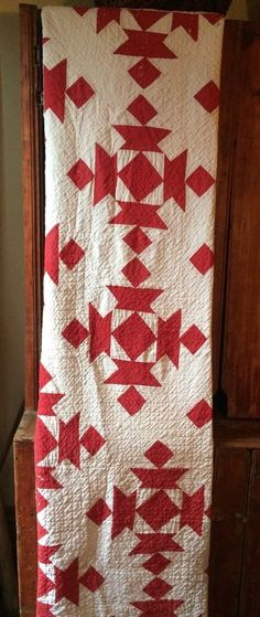 Old vintage antique Red fabric handmade quilt cutter textile Calico Back AAFA #2