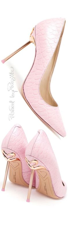 Sophia Webster ~ Pink Leather Pumps w Slim Metal Gold-tone Heels