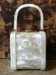 I Love Lucite!  Vintage White Pearl Lucite Handbag by AlteredArcheology on Etsy, $65.00