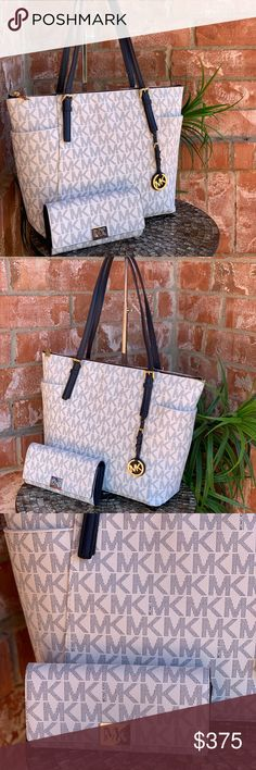 4f53858171013e Michael kors jet set large tote bag+wallet set Handbag:Signature monogram  in pvc