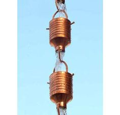 Buy this Juno Rain Chain for a decorative alternative to the gutter downspout or rain gutter pipe. Simply insert into your existing rain gutter drain hole or place it on a corner eave of your home or patio.