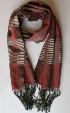 Pink & Grey Scarf Handwoven 11 x 72 by EndsPerInch on Etsy, $115.00