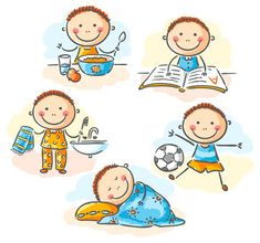 Buy Little Boy's Daily Activities by katya_dav on GraphicRiver. Little boy's daily activities, no gradients School Clipart, Bedtime Routine, Daily Activities, Cartoon Kids, Drawing For Kids, Drawing Ideas, Pre School, Easy Drawings, Kids And Parenting