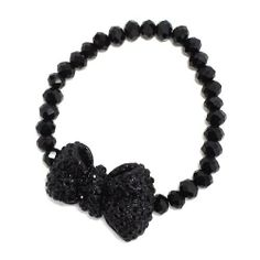 Rhinestone Bow Bracelet; Black Faceted Beads; Black Bow And Rhinestones; Stretch; Eileen's Collection. $19.99