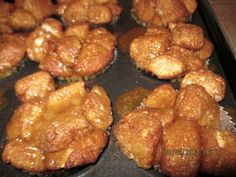 Monkey Bread Muffins Recipe ingredients:  3 (12 oz) packages of refrigerated biscuit dough1 cup of granulated sugar2 teaspoons cinnamon1 cup (2 sticks) butter1 cup brown sugar1/2 cup chopped walnuts (optional)1/2 cup raisins (optional)