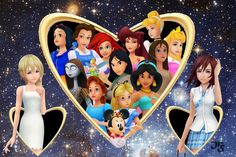 """The Women of Kingdom Hearts by *Akili-Amethyst on deviantART """"Namine and Kairi ask for their chance to be part of the Disney Princess phenominon. Namine askes for just one chance while Kairi does her best to look the part."""""""