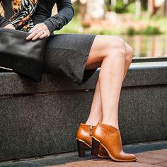 Nicola Saddle Leather Bootie | Elaine Turner | $378 pinned from www.elaineturner.com #ankleboots #elaineturner