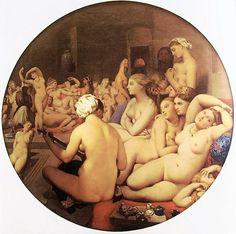 Jean Auguste Dominique Ingres, Il bagno turco (1862) olio su tela, cm 108 x 110 – Parigi, Musée du Louvre --- https://ilsassonellostagno.wordpress.com/2016/04/19/jean-auguste-dominique-ingres-il-bagno-turco-sassi-darte/