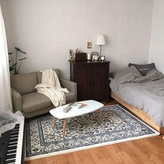 An Elegant Studio Apartment Ideas [with pictures] studio apartment partition ideas Cozy Bedroom, Bedroom Apartment, Dream Bedroom, Bedroom Decor, Bedroom With Couch, Bedding Decor, Bedroom Small, Bedroom Ideas, Trendy Bedroom