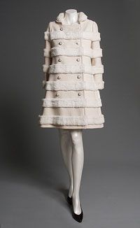 Coat, Emanuel Ungaro, ca. 1969, French; White wool zigzag twill with weft-faced stripes and complementary warp ribs, appliquéd white rabbit fur